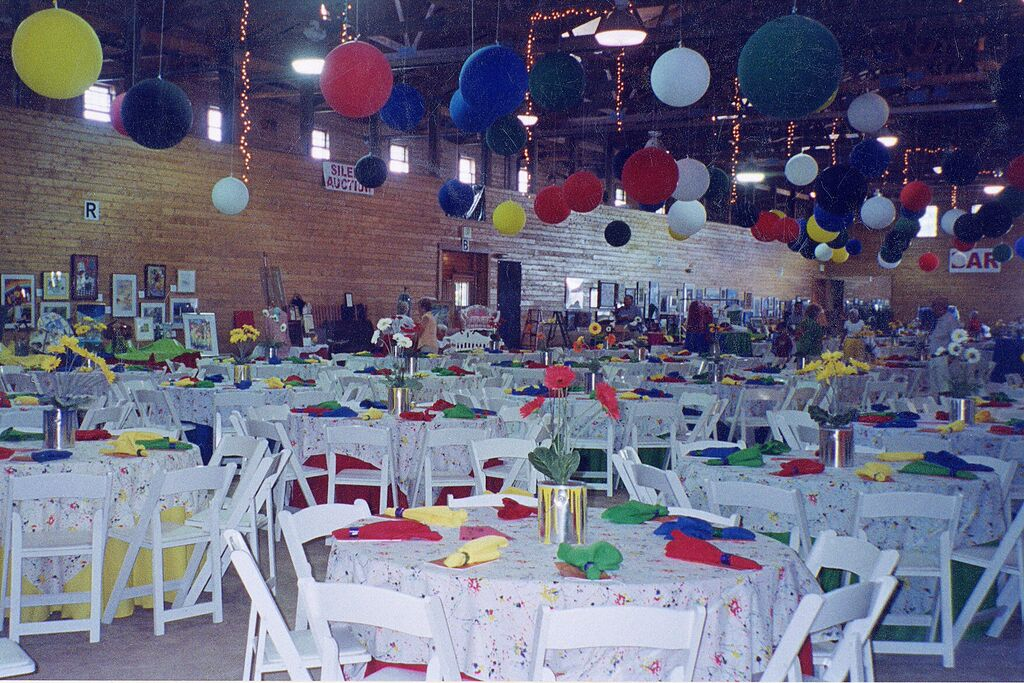 Paint Splatter Overlay with Multicolor Tablecloths and Napkins