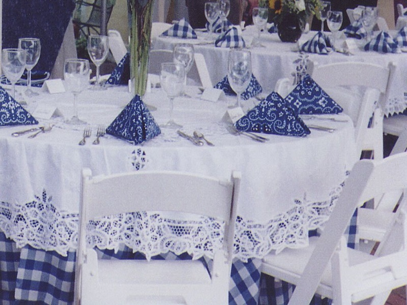 Blue & White 1 inch Check With White Battenburg Lace Overlay and Blue Bandana Napkin