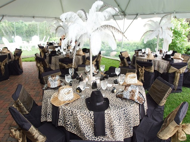 Leopard Medium Square, Black Chair Cover and Champagne Sash