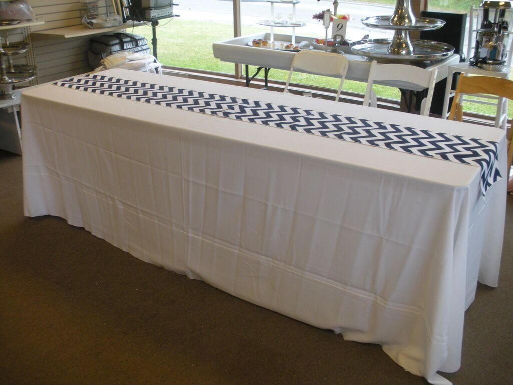 Navy and White Chevron Table Runner on White Tabledrape