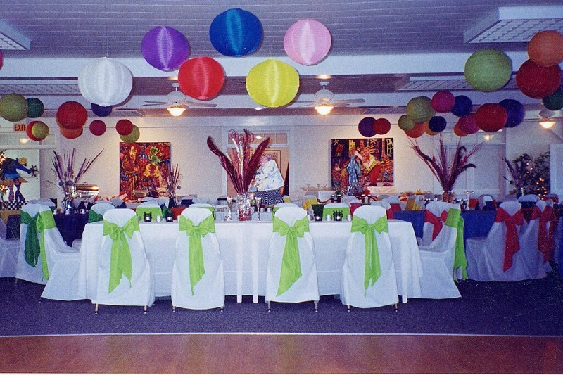 White Chair Covers With Multiple Color Chair Sashes
