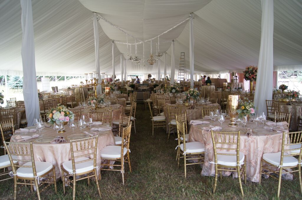 Liner, Linens and Gold Chiavari Chairs