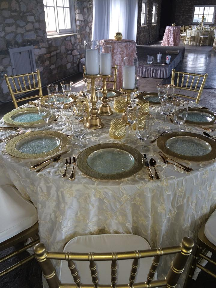 z Going for the Gold - Gold Plated Flatware, Gold Rim Glasses and Chargers, Gold Chiavari, and Ivory Ribbon Taffeta 120 Round