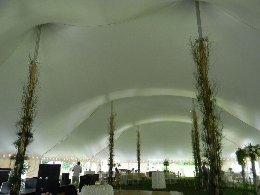 60 x 130 Tension Tent Inside View Being Decorated