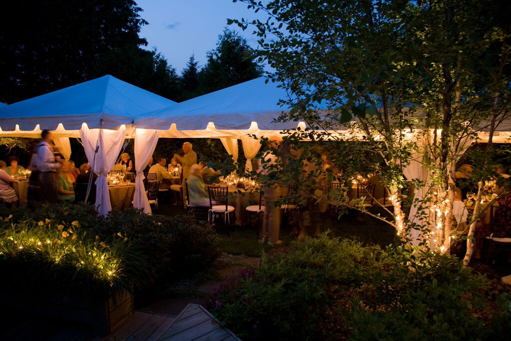 Frame Tents with Pole Covers - Night Photo